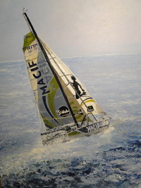 Voilier rouge-vendee globe - huile